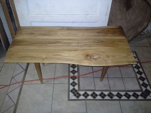 Custom Made Live Edge Coffee Table With Hand Turned Legs