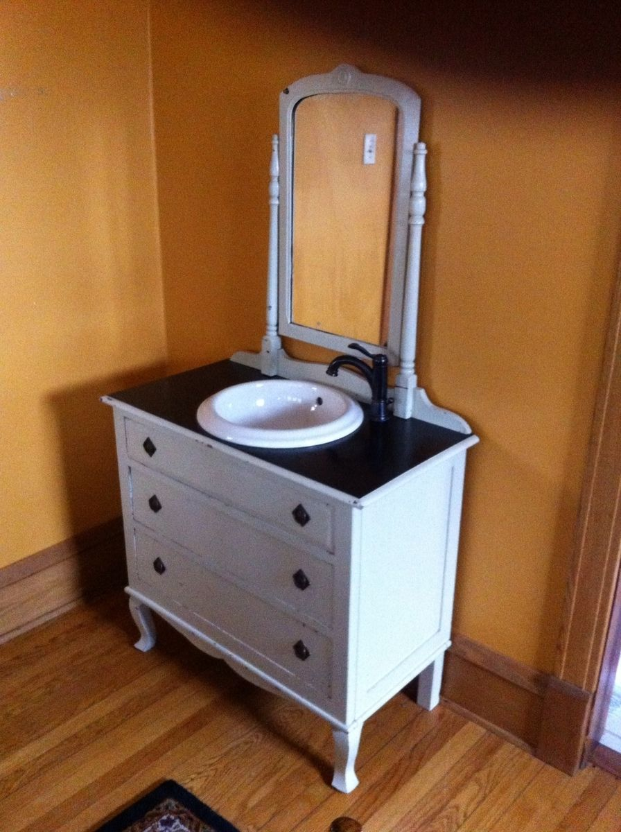 Custom Bathroom Vanity From Old Dresser by Dad's Dream-Re-Purposed on dressers turned into bathroom vanities, dressers furniture for bathroom, dressers as entertainment centers, dressers as benches,