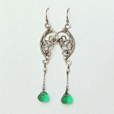 Custom Made Sterling Silver And Green Quartz Gemstone Earrings