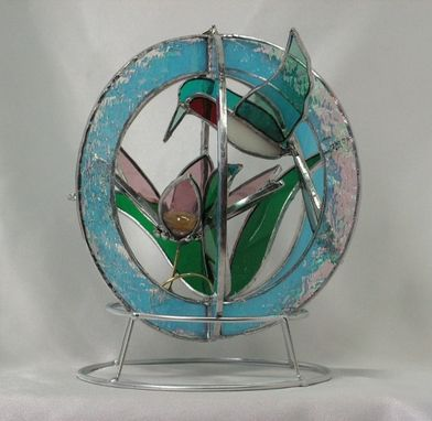 Custom Made Stained Glass Hummingbird And Flower Suncatcher Whirl