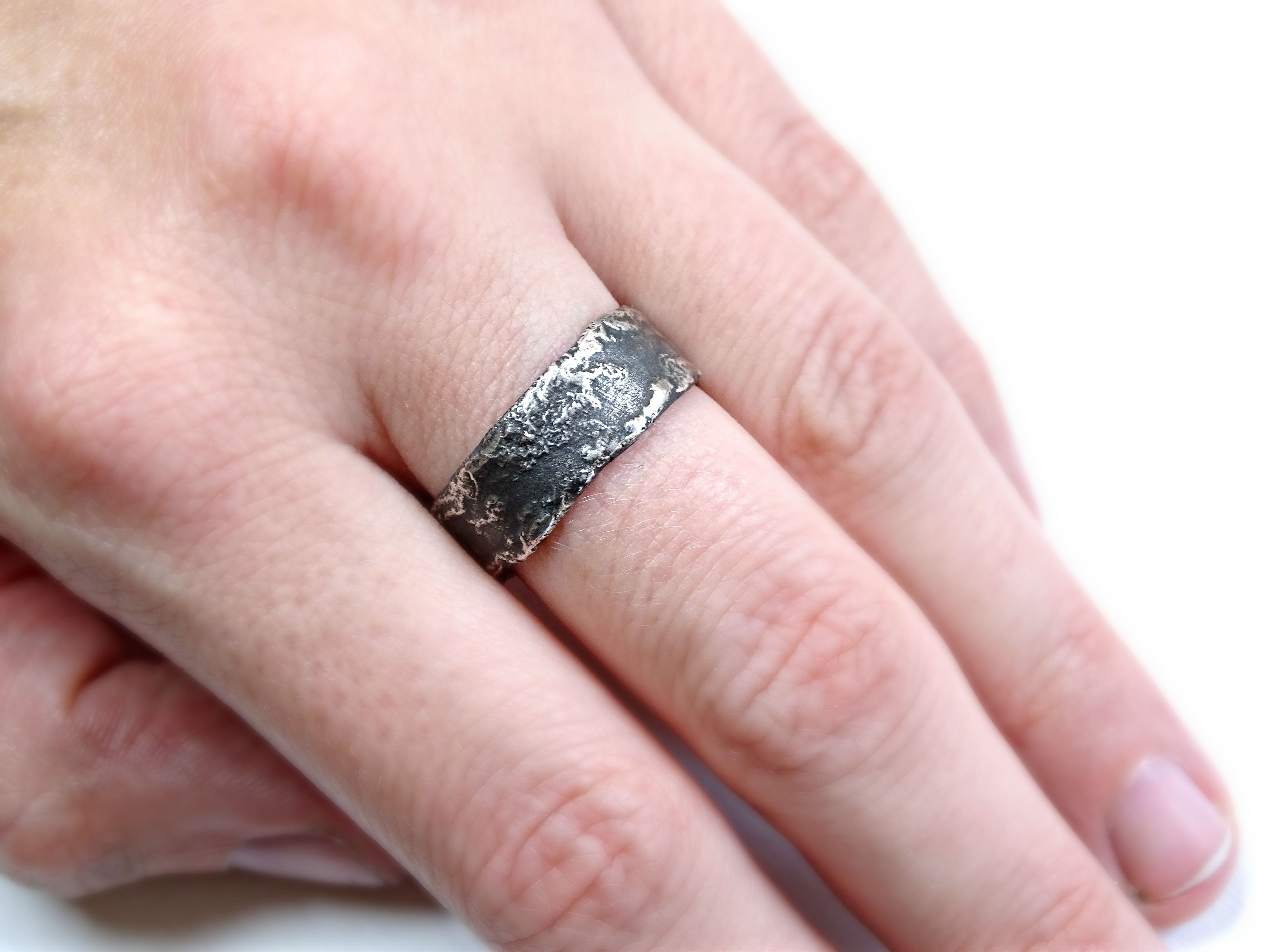 Buy a Hand Made Unique Wedding Rings Silver, Richly Structured Ring ...