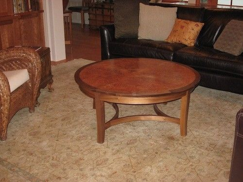 Custom Made Walnut Coffee Table With A Maple Burl Top