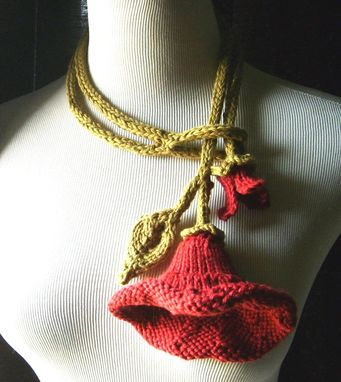 Custom Made Knit Lariat / Bloom - In Red / All Weather - Cool Absorbent Cotton Necklace/Artwear