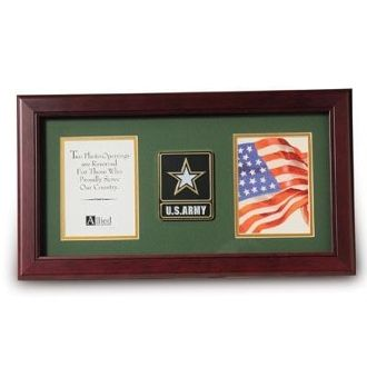 Custom Made Go Army Medallion Double Picture Frame