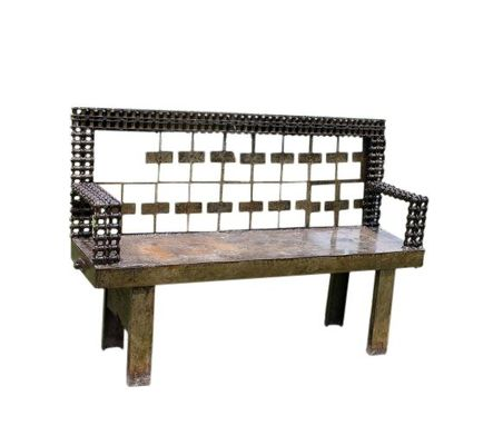 Custom Made Industrial Art Furniture Metal Bench