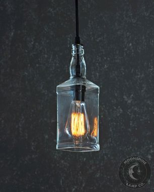 Custom Made Whiskey Bottle Hanging Pendant Lamp With Metal Ceiling Canopy