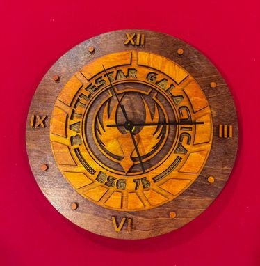 Custom Made Battlestar Galactica Laser Cut Stained Wood Clock