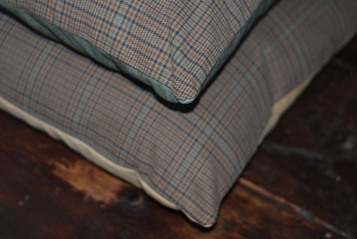 Custom Made 16x16 Plaid Menswear Pillow Cover With Recycled Leather Back