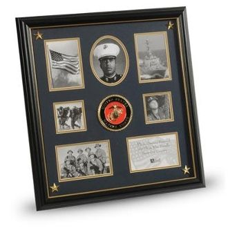 Custom Made U.S. Marine Corps Medallion & Picture Collage Frame With Stars