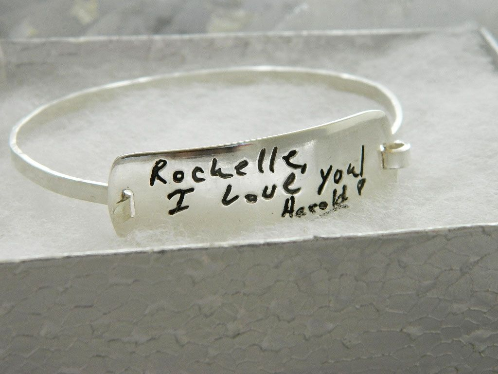 Custom Made Personalized Handwriting Jewelry Sterling Silver Bracelet