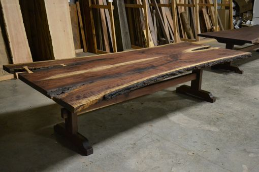 Custom Made Live Edge Bookmatched Walnut Table With Trestle Base