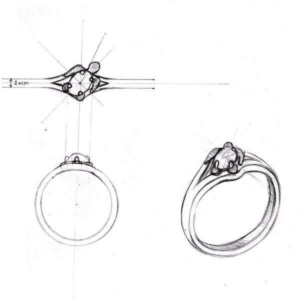Design sketch for a sleek, sculptural turtle engagement ring with an oval diamond center stone.