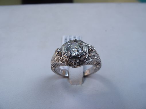 Custom Made 18 Kt. White Gold Filigree, Retro Engagement Ring With An Antique Cut Center Diamond .63 Ct.