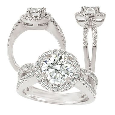 Custom Made 18k White Gold Engagement Ring Semi-Mount With Diamond Halo, Holds 7.5mm Round