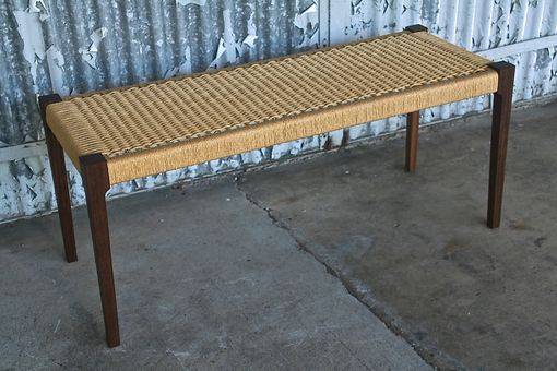 Custom Made Walnut Bench With Danish Cord Seat (No Arm Rests)
