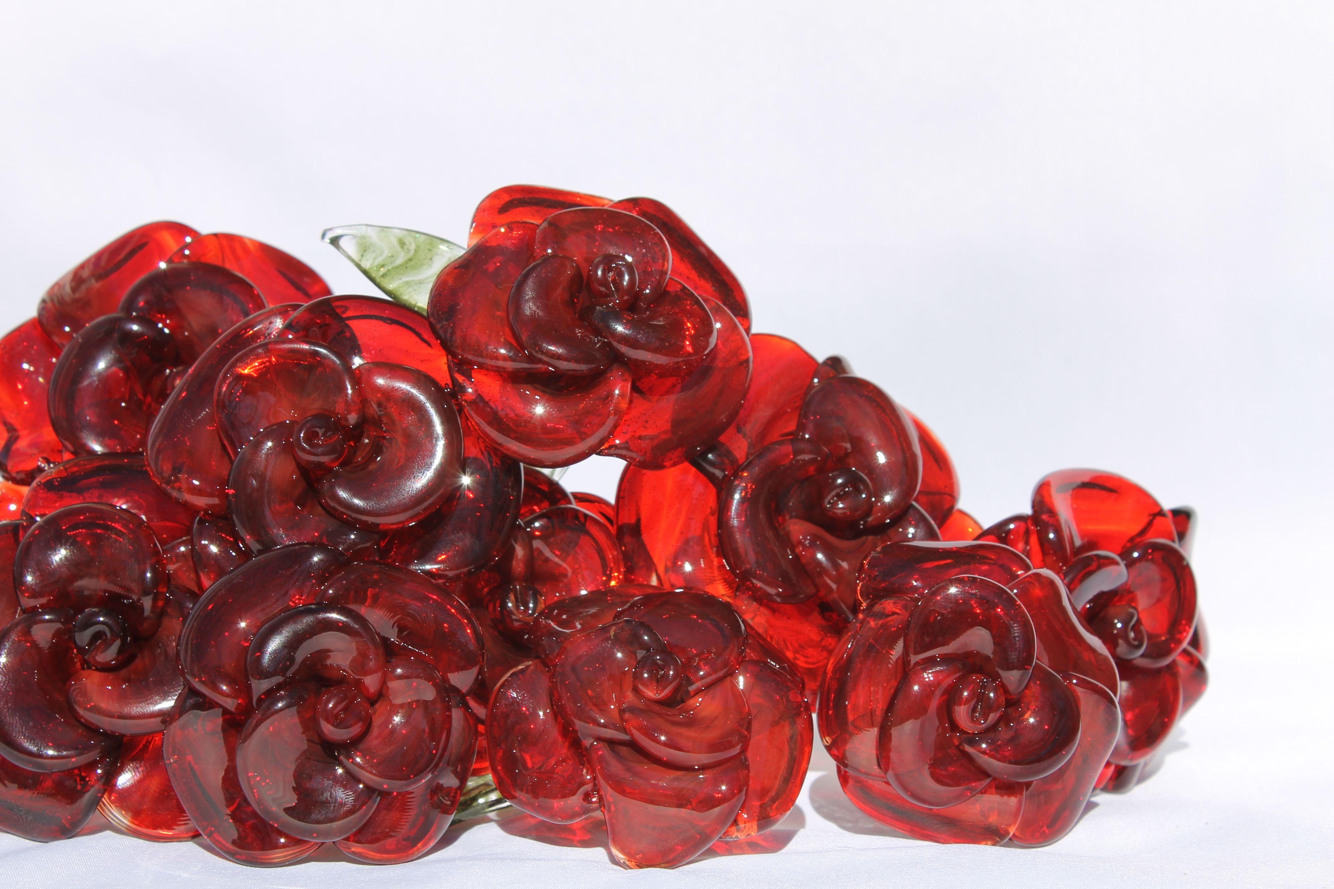 buy a custom dozen glass roses flower long stemmed untamed rose red made to order from untamed. Black Bedroom Furniture Sets. Home Design Ideas