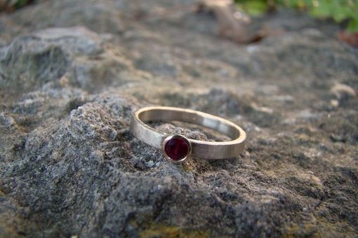 Custom Made Two Tone Gold Ruby Bezel Ring 14 Karat White Palladium Gold And 14 Karat Yellow Gold