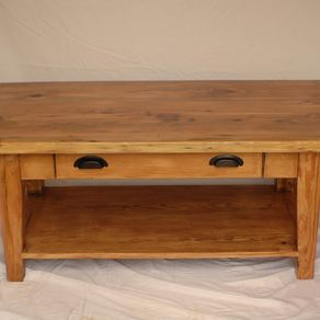 Reclaimed Heart Pine Coffee Table With Drawer And Shelf By Jason Knies