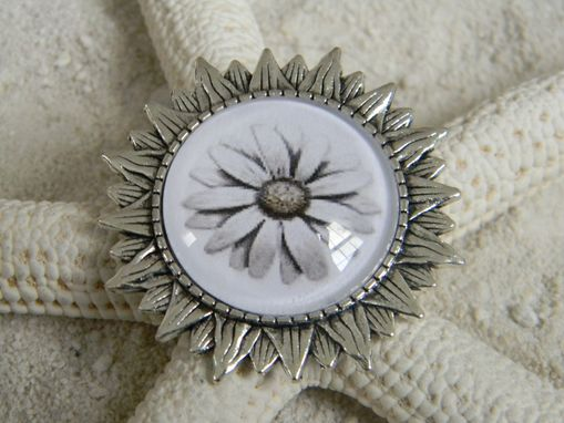 Custom Made Antique Silver Sunflower Bezel Glass Cabochon Brooch Pin