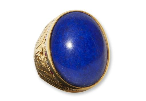 Custom Made Large Lapis Ring With Gemstones.