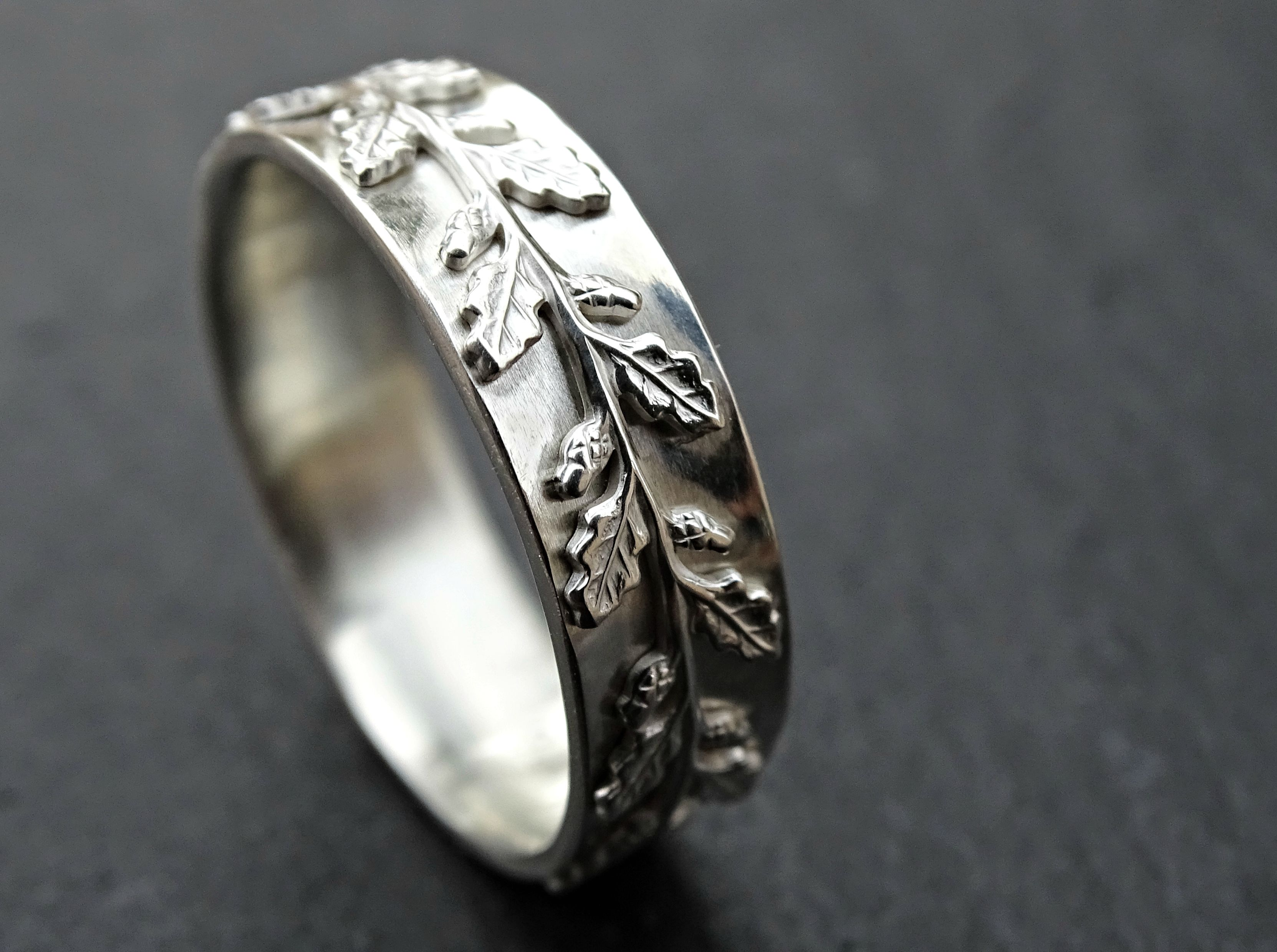 custom made medieval wedding ring silver fairy tale wedding band pagan oak leaf ring - Medieval Wedding Rings