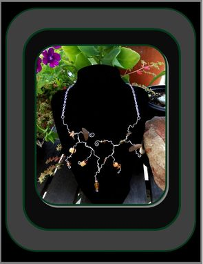 Custom Made Necklaces,Abstract,Wood,Earthtone,Gems & Silver,Necklace,Statement Jewelry