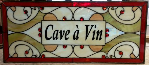 "Custom Made Stained Glass Panel - ""Cave A Vin"" (P-54)"