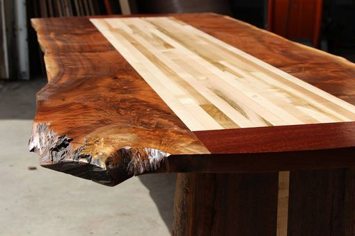 Custom Made Live Edge Walnut Inlay Table