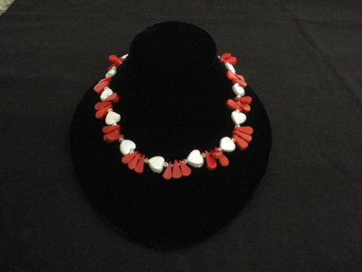 Custom Made Heartshape Freshwater Pearl Necklace With Coral And Crystal.