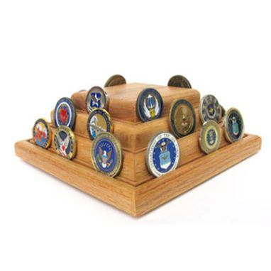 Custom Made Military Challenge Coins - Pyramid Coin Display