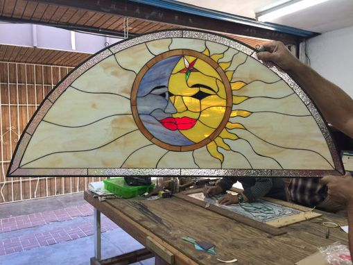 Custom Made Mystical Kissing Sun & Moon Stained Glass Window