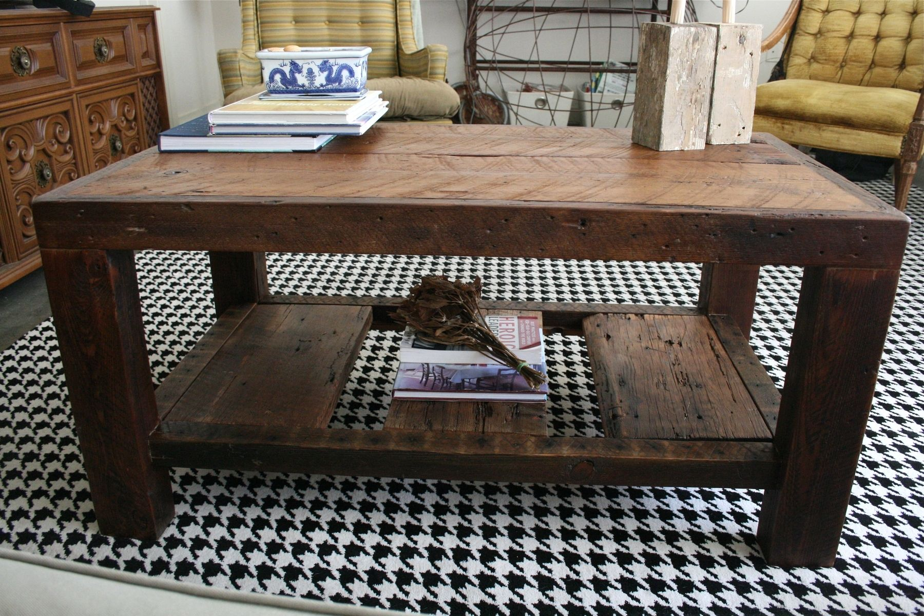 Hand Crafted The Rustic Coffee Table Made From New Orleans Barge