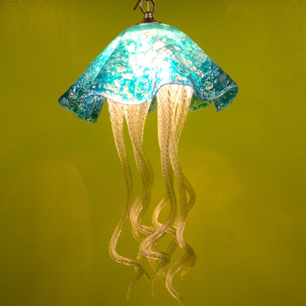 Buy a hand made jellyfish pendant light turquoise jellyfish custom made jellyfish pendant light turquoise jellyfish blown glass lighting art glass chandelier mozeypictures Choice Image