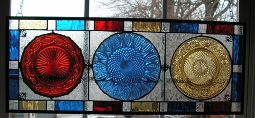 "Custom Made Suncatcher Stained Glass Panel With Vintage Dishes ""Primary Colors''"