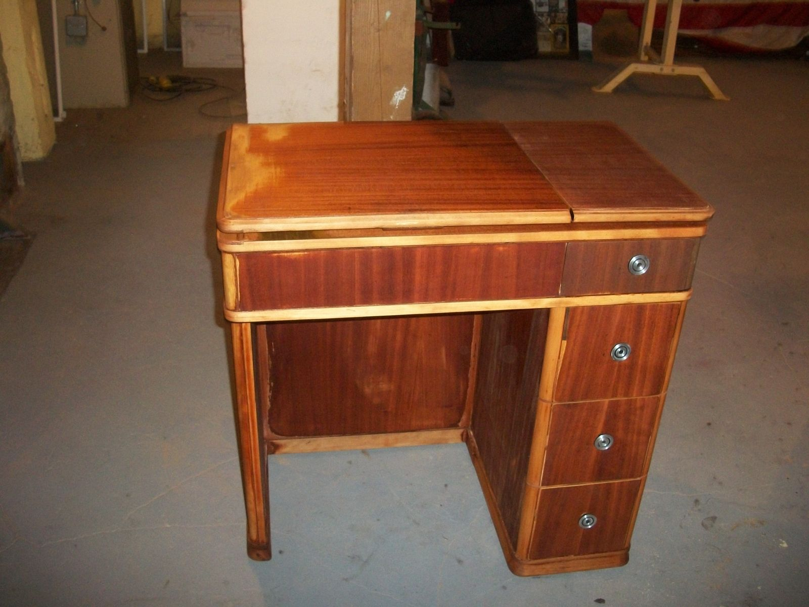 Hand Crafted Vintage Sewing Desk Re Purposed Into A Vanity