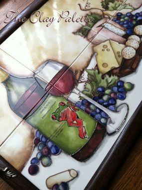 Custom Made Hand-Painted Ceramic Cheese Plates & Tile Serving Tray
