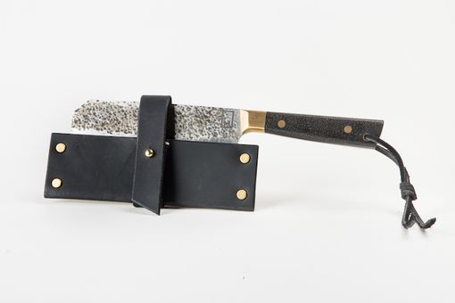 Custom Made Cleaver With Brass And Resin Handle In Handmade Sheath (Carbon)