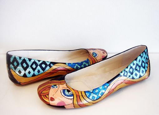 Custom Made Blond Girl Flats - Hand Painted Shoes- Hand Painted Flats