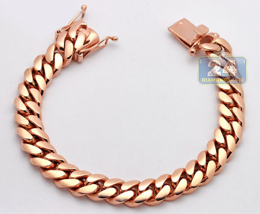 Custom Made Solid 14k Rose Gold Miami Cuban Link Mens Bracelet 10 5 Mm 8 Inches