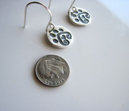 Custom Made Fine Silver Paw Print Earrings