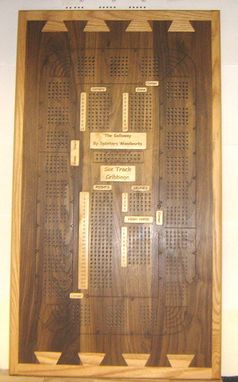 Custom Made Custom Six Person Large Walnut/Oak Cribbage Board
