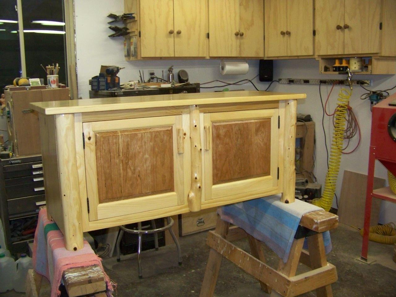 Cedar Log With Cherry Raise Panel Doors