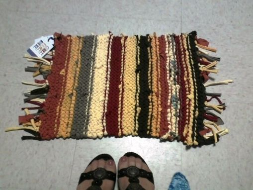 Custom Made Upcycled Handknit T-Shirt Scatter Rug