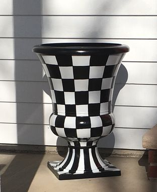 Custom Made Painted Urn Planter // Urn Pot Planter // Whimsical Painted Planter Urn // Checkered Urn