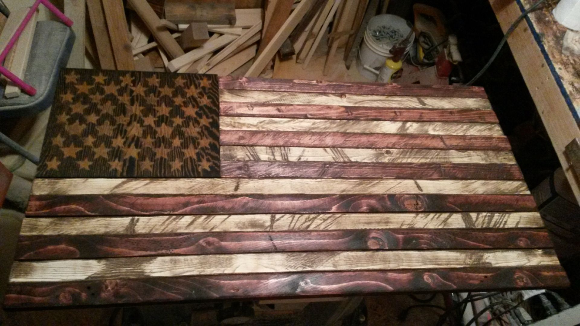 Buy A Handmade Rustic Distressed Wood American Flag Made