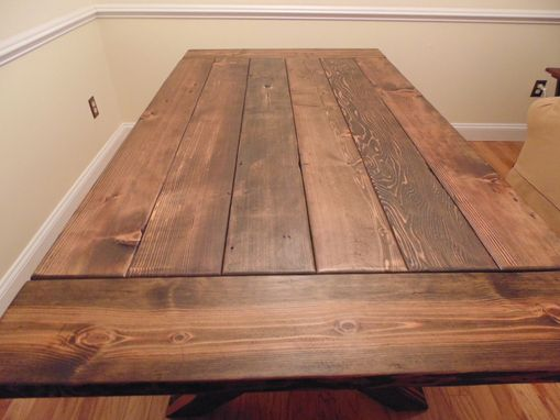 Custom Crossed Leg Trestle Style Farmhouse Table By
