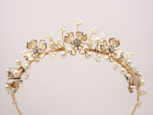 Custom Made Gold And Ivory Wedding Tiara Of Vintage Flowers And Pearls