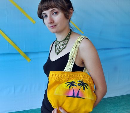 Custom Made Fringed Sunny Yellow Tote Bag