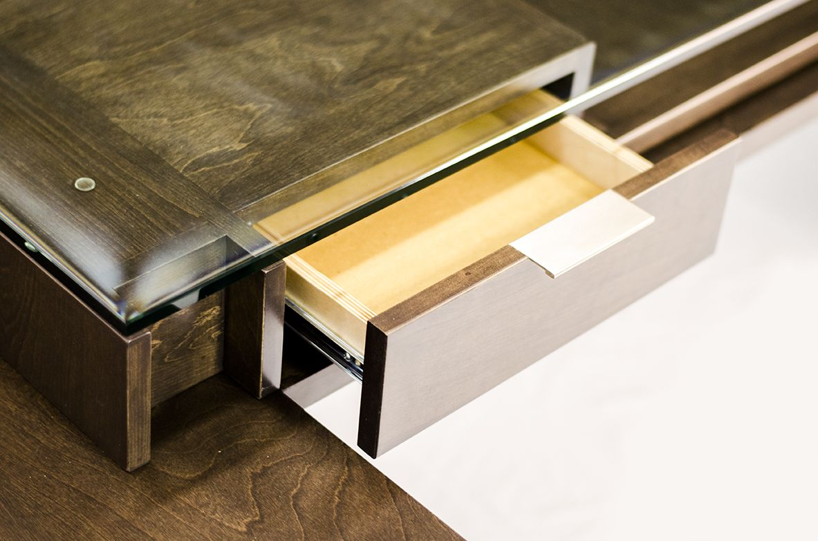 Handmade Glass Top Executive Desk Modern Style Birch Wood By Contempoary Woods Custommade Com