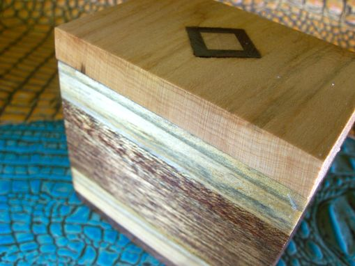 Custom Made Wood Trinket Box With Cherry And Walnut Inlay